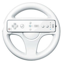 White Racing Steering Wheel for Nintendo Wii Mario Kart Game Round Remote UK