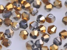 200x Wholesale 4mm Bicone Faceted Crystal Glass Loose Spacer Beads Half Golden