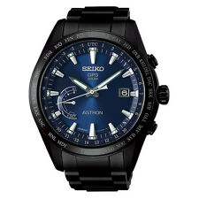 New Seiko Astron Solar GPS Black PVD Titanium Men's Watch SSE111