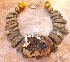 RAW QUARTZ half FROSTed THICK GEODE DRUZY NECKLACE PENDANT GOLD AGATE STATEMENT