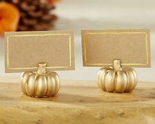 Personalized 12 Gold Pumpkin Place Card Holders Wedding Fall Autumn Thanksgiving
