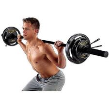 Olympic Weight Set Golds Gym 110 lb Black Plates Barbell Workout Gym Lifting