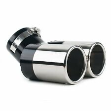 TWIN DUAL EXHAUST TRIM TIP DOUBLE MUFFLER PIPE CHROME TAIL 60MM UNIVERSAL EX9