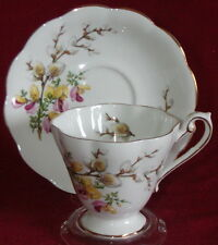 Royal Standard Porcelain England Pussy Willow Footed Cup & Saucer Set