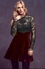 Free People Ginger Meadow Fit And Flare Beaded Velvet Mini Dress Sz 2 $250