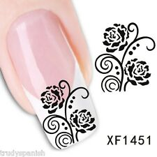 Nail Art Calcomanías Agua Transfers Negro Flores Rosa UV Uñas Decoración (1451)