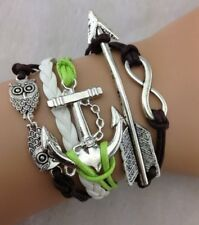 NEW Arrow Infinity Owl Anchor Leather Charm Bracelet plated Silver  Q12