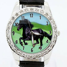 New Round Horse Black Leather Analog Crystal Wristwatch Hot Popular Brand L18