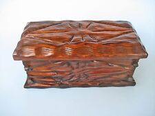RETRO DECORATIVE CARVED WOOD BOX EUROPE hinged lid hob nails burnt poker-work
