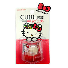 [MENTHOLATUM] HELLO KITTY SOFTLIPS Cube 5 in 1 Lip Care STRAWBERRY Lip Balm NEW