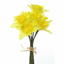Artificial Daffodils 9 Stem Bunch 13 Inches Yellow Spring Flower