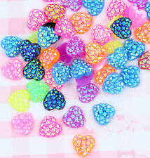 10 x Small 12mm Sparkle HEARTS Bling Kawaii Cabochon Embellishments DIY Craft
