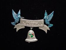 """JJ"" Jonette Jewelry Silver Pewter 'Merry Christmas Banner with Bluebirds ' Pin"