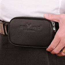 Men Genuine Leather Cell Mobile Phone Hook Belt Pouch Purse Fanny Pack Waist Bag