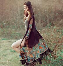Fashion Women Boho Chiffon Kimono Shirt Cardigan Tassel Long Beach Cover Up Tops