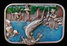 RIVER FISHING BELT BUCKLE SOLID PEWTER NEW! BUCKLES