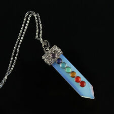 Opal Opalite Sword Shaped Pointed 7 Chakras Reiki Pendulum Pendant Necklace