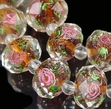14 Czech Glass Faceted Rondelle Beads - Encased Rose Flower topaz 12x8mm