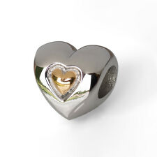 Stainless Steel Heart Bead Gold Plated Heart Charm Fits European Charm Bracelets