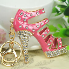 Pink Big High-heeled Shoes Keyring Rhinestone Crystal Pendant Key Bag Chain Gift