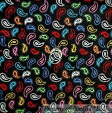 BonEful Fabric FQ Cotton Quilt Black Rainbow White B&W Paisley Calico Lace Small