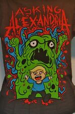 ASKING ALEXANDRIA METAL MUSIC TSHIRT TAUPE Sm CARTOON MONSTER CHASES BOY BLOOD