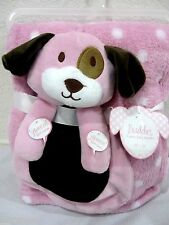 SQUEAKS Baby Girls 2pc Security Puppy & Blanket Pink & White Polka Dot Set