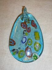 ITALIAN ART GLASS PENDANT FOR NECKLACE ETC BLUE EGG FORM w MILLEFIORE & GOLD