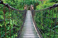 Hängebrücke Dschungel- XXL Wandbild Dschungel Brücke- Poster 140 cm x 100 cm