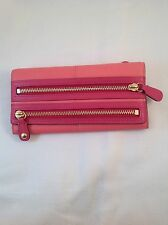 NWT AUTHENTIC  Coach Bonnie Wallet Double Zipper Coral & Magenta Kid Leather