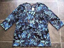 BNWT Ladies Black, Blue & White Crinkle Polyester Layered 3/4 Sleeve Top
