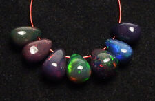 7 pcs ETHIOPIAN BLACK OPAL 8mm Teardrop Beads /T1