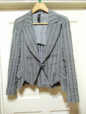 HIGH USE by Claire Campbell Grey Striped Asymetric Shaped Hem Jacket UK 10 It 42