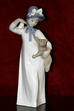 Vintage REX Valencia Porcelain 'Girl Playing Cat' Figurine, Spain