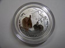 """Australien , 0,5 Dollar 2011 ST, Lunar II  """" Jahr des Hasen """", Silber mit Farbe"""