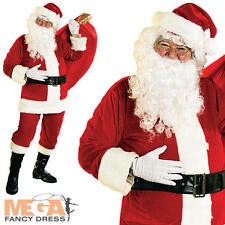 Velour Santa Suit + Inflatable Belly Mens Fancy Dress Christmas Costume Outfit
