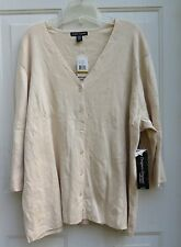 Cardigan Sweater by Designers Originals Woman Top Shirt 3X Natural / Beige