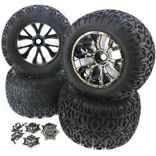 4 ATX TIRES & 20mm BLACK CHROME FORCE WHEELS Rims Foam Screws - Losi LST XXL 2