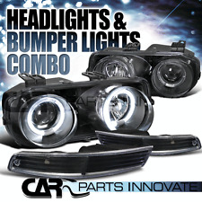 1994-1997 Acura Integra Black Halo Projector Headlights+Bumper Lamps