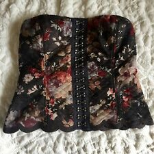 FREE PEOPLE Floral Quilted Bustier Corset top XS/0 Rare Scallop Hem Coachella