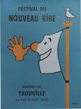 """""""FESTIVAL du NOUVEAU RIRE TROUVILLE 1990"""" Affiche originale entoilée SAVIGNAC"""