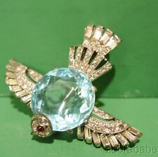 Trifari Sterling Jelly Belly Stone Bird Pin Brooch  Aquamarine Color Stone
