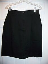L.L. Bean Black Size 8 Knee Length Skirt Back Elastic Waist Cotton Blend