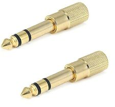 """2x Gold 3.5mm 1/8"""" Female to 6.3mm 1/4"""" Male Stereo Audio Adapter Headphone F/M"""