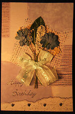 Hand-made pressed bouquet birthday cards - set of 3, free shipping