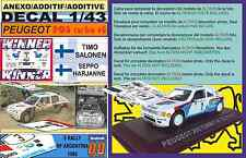 ANEXO DECAL 1/43 PEUGEOT 205 TURBO 16 E2 T.SALONEN R.ARGENTINA 1985 WINNER (05)