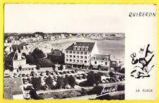 cpsm QUIBERON en 1963 (Morbihan) La Plage HÔTEL BEAU RIVAGE Automobiles