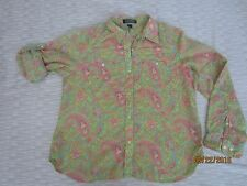 Ralph Lauren Cotton Button Down Shirt Size PL Roll Tab Sleeves Green Pink Floral