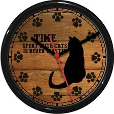 "Time With Cats Never Wasted 10"" Wall Clock Cat Silhouette Paw Prints Wood Tone"