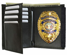 DELUXE GOLD CONCEALED CARRY BADGE and WITH LEATHER WALLET WEAPON HAND PERMIT